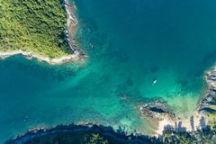 Drone view Top view landscape nature scenery view of Beautiful tropical sea with Sea coast view in summer season image by Aerial. View drone shot stock photo