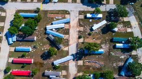 Drone view of Trailer Park destroyed by Hurricane Damage Storm Damage looking straight down above destroyed community Royalty Free Stock Photos
