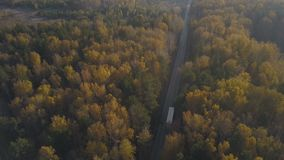 Drone view truck car moving on highway road through autumn forest. Truck with freight container driving on suburban road on background autumn forest stock footage