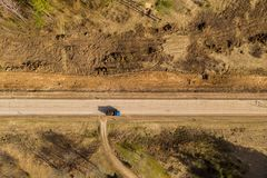 Drone view of truck and road repair work rural landscape royalty free stock images