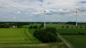 Drone view of two windmills