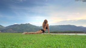 Drone View Woman Holds Yoga Position against Tropical Nature stock footage