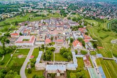 Drone view on Zamosc old town and city main square with town hall stock image