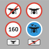 Drone warning sign. Vector set of different warning and forbidde Stock Photography