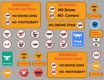 Drone warning sign. Vector set of different warning Stock Photography