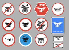Drone warning sign. Vector set of different warning   Royalty Free Stock Images