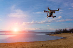 Drone watching the sunset Stock Photography