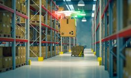 Drone at work in warehouse royalty free stock photo