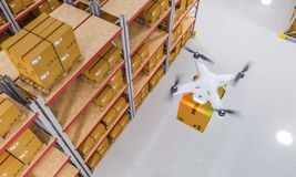 Drone at work in warehouse. Drones work in warehouse 3d rendering image royalty free stock photography
