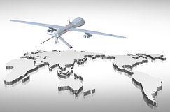 Drone and world map. Illustration with drone and world map stock illustration