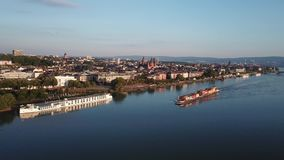 Drones aerial view of the city Mainz and river Rhine Tavel Germany