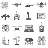 Drones Black White Icons Set. Flying and caterpillar drones black white icons set with radio control flat  vector illustration Stock Photo