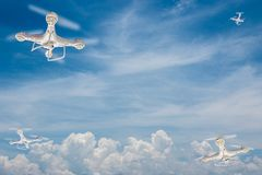 Drones with bright sky royalty free stock photos