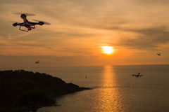Drones with bright sky. Many drones with bright sky stock photography