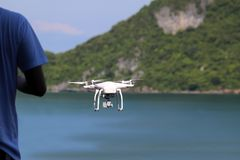 Drones camera flying in the sky with ocean views. Background stock photos