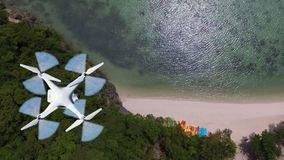Drones camera flying in the sky with ocean views. Drones camera flying in the sky with ocean lagoon views by the beach royalty free stock photo