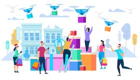 Drones Carry Purchases to Consumers. Holiday Sale royalty free illustration