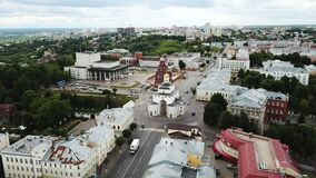 from drones of city center and Golden Gate in Vladimir, Russia