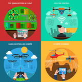 Drones concept 4 flat icons square Royalty Free Stock Images
