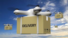 Drones with delivery carton box. On blue sky background Royalty Free Stock Image