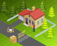 Drones Delivery Isometric Template Stock Image