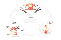 Drones - equipment and extensions, remote control on vr, modern fly transport vector concept set. Hand drawn sketch isolated illustration vector illustration