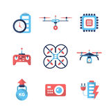 Drones - flat design icons set Royalty Free Stock Photography