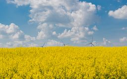 Drones flight and aerial view over a field. In Germany stock photo
