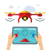 Vector Quadrocopter. Flat style colorful Cartoon illustration. Drones fly and hands with remote control. Isolated on a white background Royalty Free Stock Image