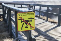 Drones are Forbidden Sign Gullfoss Waterfall Iceland. 20 April 2018: Gullfoss Waterfall, Iceland - Drones are Forbidden sign royalty free stock photography