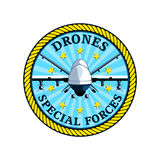 Drones forces badge. Badge for future special drones forces isolated vector illustration
