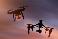 Drones with high resolution camera flying. Drones with high resolution camera flying, close-up royalty free stock image
