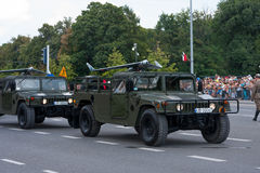 Drones on Humvee. WARSAW, POLAND - AUGUST 15, 2014: Drones on Humvee HMMWV, M1097A2. Polish Armed Forces Day. Over 1200 Polish and over 90 foreign soldiers, over royalty free stock image