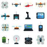 Drones Icons Set Royalty Free Stock Photos