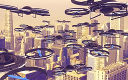Drones Invasion. A Lot of Drones Above American City. 3D Render Illustration. Technology Abstract Royalty Free Stock Photo
