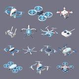 Drones Isometric Icons Stock Image