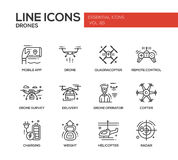Drones - line design icons set Stock Photo