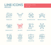 Drones - line design icons set Stock Images