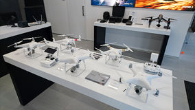 Drones in official DJI store. PRAGUE, CZECH REPUBLIC - MARCH 17, 2017: Official DJI store in Prague. DJI is the leading company in the civilian drone industry Royalty Free Stock Photo