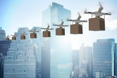 The drones in package delivery concept Stock Photo