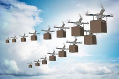 The drones in package delivery concept Stock Photos