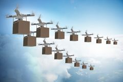 The drones in package delivery concept Royalty Free Stock Image