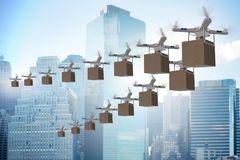 The drones in package delivery concept Stock Photography