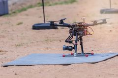 Drones are preparing to fly to explore and collect images and videos on top view.  Stock Images