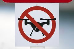 Drones prohibited / no fly zone sign Royalty Free Stock Photo