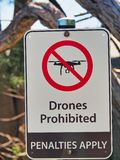 Drones Prohibited, Penalties Apply, Sign. A metal sign; Drones Prohibited, Penalties Apply. No drones. Sydney Harbour, NSW, Australia royalty free stock photo