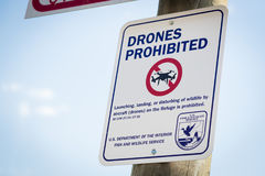 Drones Prohibited Sign Near Elk Sanctuary Near Grand Teton National Park. Drones Prohibited Sign Near Elk Sanctuary Near Grand Teton National Park, Wyoming Stock Photos