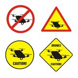 Drones prohibition signs. Drones prohibition and warning sign. No drones flight stock illustration