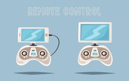 Drone for delivery and entertainments. Modern technologies. Cartoon vector illustration Royalty Free Stock Image