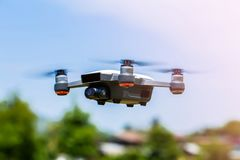 Drones with small white. Small drones are flying in the air royalty free stock photography